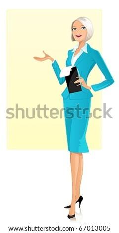 Presenting businesswoman - stock vector