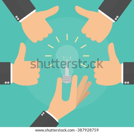 Presenting or showing a good idea concept. Hand holding a lightbulb while hands showing thumbs up hand sign. Vector illustration in flat style - stock vector