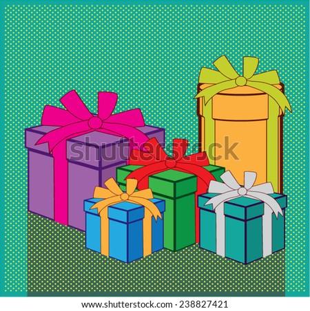 Presents color boxes vector - stock vector