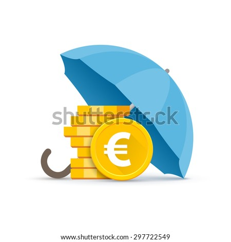 Preservation and protection of money. A stack of euro coins under a blue umbrella - stock vector