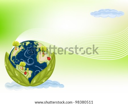 Preserving Nature - planet Earth inside green leaves. Gradient Mesh used. Vector file saved as EPS AI8, all elements layered and grouped. - stock vector