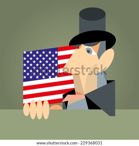 President Abraham Lincoln on the background of the USA flag, on a green background.