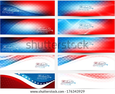 President Day in United States of America with colorful header set collection vector illustration - stock vector