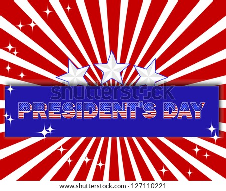 President's Day background with a beautiful text on the banner and stars.  Vector illustration. - stock vector