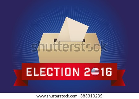 Presidential Election Day 2016. Text: Election 2016. American Flag's Symbolic Elements - Red Stripes and White Stars. Blue background. - stock vector