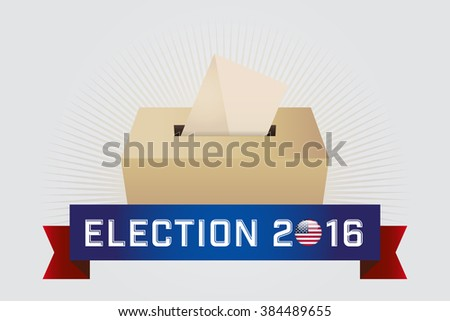 Presidential Election Day 2016. Text: Election 2016. American Flag's Symbolic Elements - Red Stripes and White Stars. White background. - stock vector