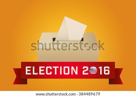 Presidential Election Day 2016. Text: Election 2016. American Flag's Symbolic Elements - Red Stripes and White Stars. Yellow background. - stock vector