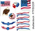Presidential Election Vote Banner and other VECTOR Element SET. - stock vector
