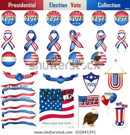 Presidential Election Vote Element Collection. Perfect for your campaign. Vector