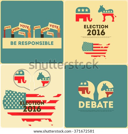Presidential Election Voting Mini Posters Set. Vector Illustration. - stock vector