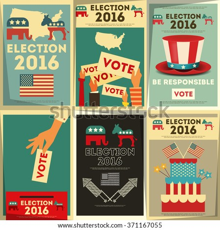 Presidential Election Voting Poster Set. Vector Illustration. - stock vector