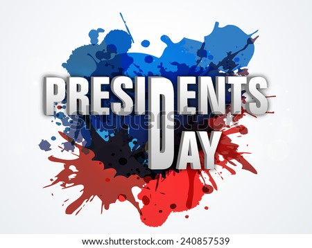 Presidents Day celebration poster, banner or flyer with United State American flag color splash. - stock vector