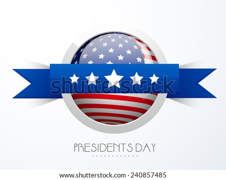 Presidents Day celebration sticker or label design in American Flag color with blue ribbon on white background. - stock vector
