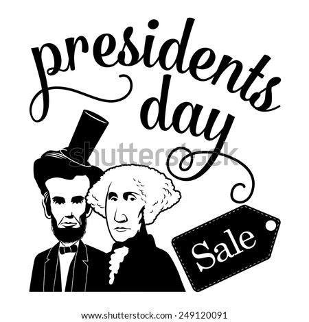 Presidents Day sale Icon with caricatures of Washington and Lincoln EPS 10 vector stock illustration - stock vector