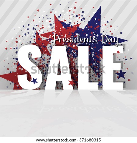 Presidents Day Sale. Letters with reflection, stars and flag on the striped background. Stock vector. - stock vector