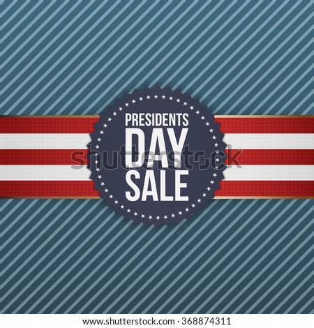 Presidents Day Sale realistic blue USA Emblem - stock vector