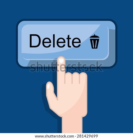 press button delete - stock vector