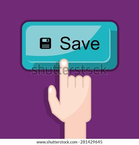 press button save - stock vector