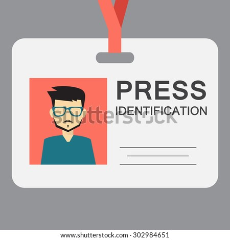 press identification, flat design - stock vector