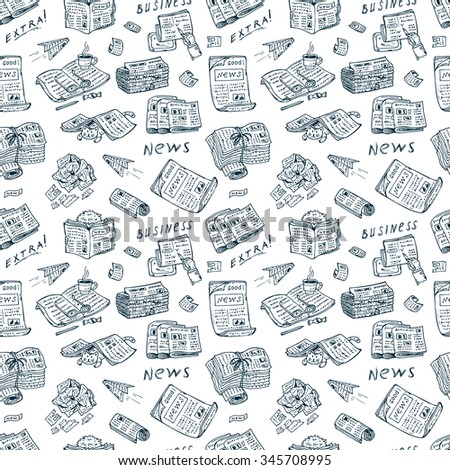 Press.  Newspapers.  Vector Seamless pattern: stacks and rolls of newspapers and magazines - Hand Drawn Doodles illustration