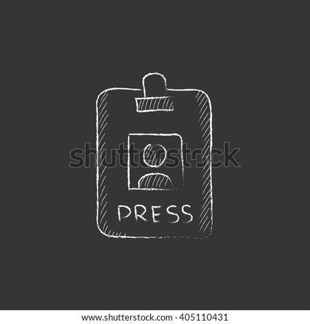 Press pass ID card. Drawn in chalk icon. - stock vector