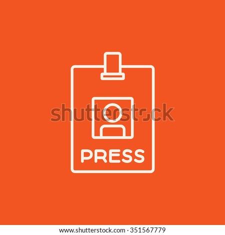 Press pass ID card line icon for web, mobile and infographics. Vector white icon isolated on red background. - stock vector