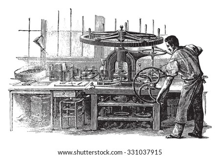 Press, vintage engraved illustration. Industrial encyclopedia E.-O. Lami - 1875.