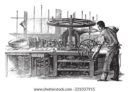 Press, vintage engraved illustration. Industrial encyclopedia E.-O. Lami - 1875. - stock vector