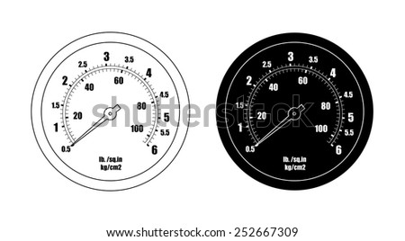 Pressure gauge bar icon. Clip art vector contour lines and black silhouette illustration isolated on white  - stock vector