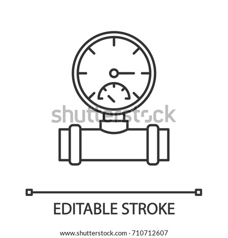 Pressure Gauge Linear Icon Plumbing Thin Stock Vector 710712607