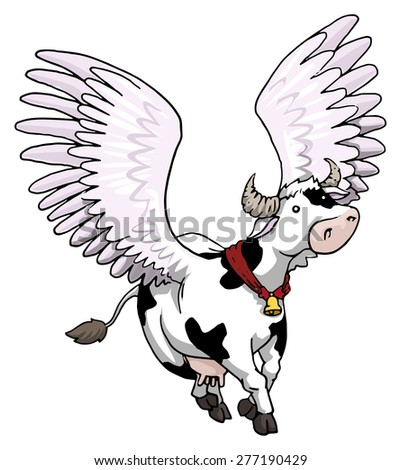 Pretty and gracious, Flying winged cow, vector illustration - stock vector