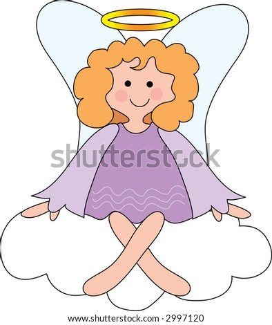 Pretty angel on a cloud with a halo