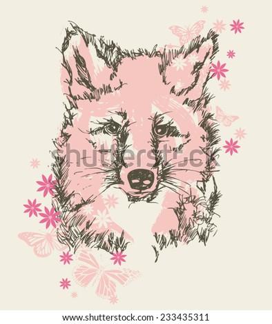 Pretty Baby Fox & Floral Vector Tshirt Screenprint - stock vector