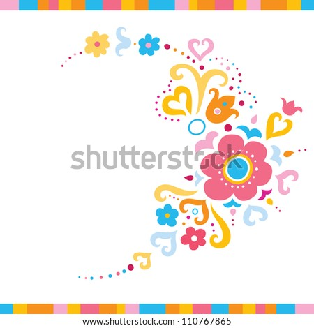 Pretty background with flowers and swirls in fresh colors. - stock vector