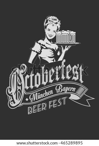 Pretty Bavarian girl with beer. Oktoberfest label ghotic lettering. Ribbon banner.