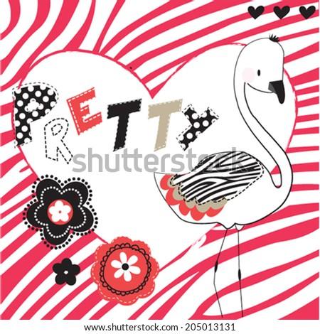 pretty bird vector illustration - stock vector
