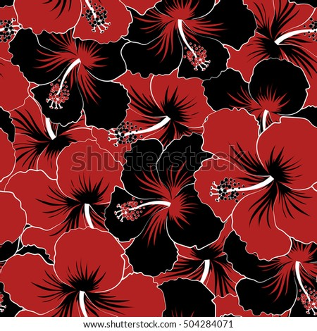 Pretty Black And Red Floral Print Motley Seamless Pattern Vector Hibiscus Flower Background