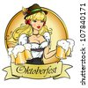 Pretty blond girl with beer, Oktoberfest logo design with space for text, invitation - stock vector