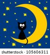 pretty card with cat in the moon night. vector illustration - stock photo