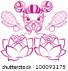 Pretty cartoon girl with gas mask and pink flowers - stock vector