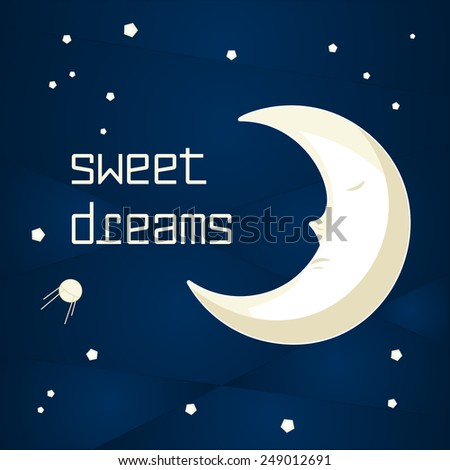 Pretty cartoon moon sleeping in the night sky with stars - stock vector