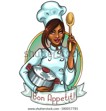 Pretty Chef with pot and spoon. Label with ribbon banner and sample text - stock vector