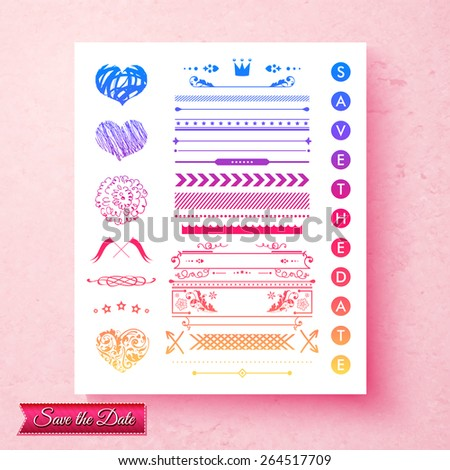 Pretty decorative set of wedding invitation elements with frames, borders, hearts and text - save the date - on round multicolored icons, vector illustration on a textured pink background - stock vector