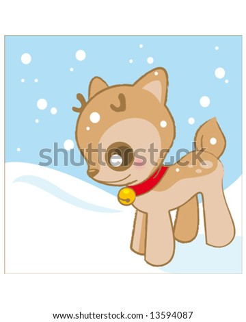 pretty deer in snow - stock vector
