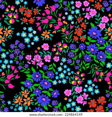 Pretty ditsy flower arrangements ~ seamless background - stock vector