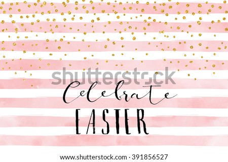 Pretty Easter Card Template Gold Glitter Stock Vector