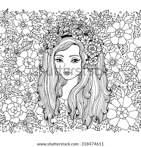 Pretty elegant comics girl with fashion floral wreath. Vector. Hand drawn amazing artwork. Love bohemia concept for wedding invitations, logo, label. Black, white. Coloring book page for adults, kids - stock vector
