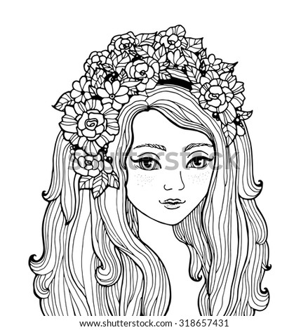 Pretty elegant comics girl with fashion wreath. Vector. Hand drawn amazing artwork. Love bohemia concept for wedding invitations, cards, tickets, branding, logo, label. Black and white. Coloring book - stock vector
