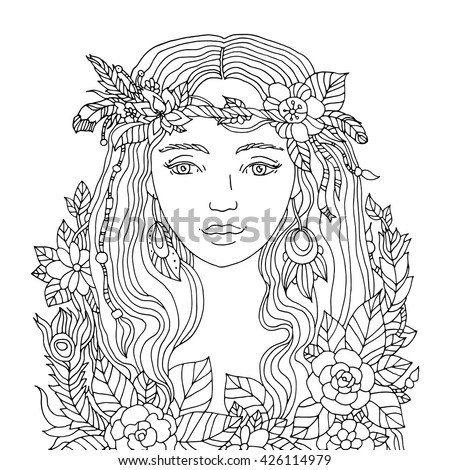 Vector Fashion Illustration Floral Queen Beautiful Stock