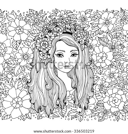 Pretty elegant girl with flower wreath. Vector. Coloring book page for adult. Hand drawn amazing artwork. Love bohemia concept for wedding invitation, card, ticket, branding, boutique logo, label.  - stock vector